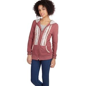 Floral lace trimmed hoodie